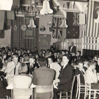 1966 - Xmas Social, Youth Centre - Capt. Lawrence chaperoning - standing top right beside windows