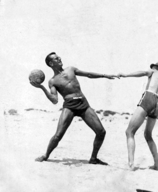 Captain Lawrence playing volleyball while posted in the Mid-East, early 1940's